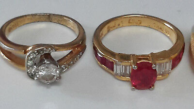 3 VINTAGE Electroplate Womens Rings sizes unknown