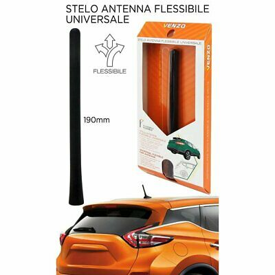 Antenna Flessibile In Gomma Venzo Flex Straight Nero Opaco 190 Mm Auto
