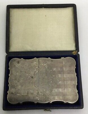 Victorian Sterling Card Case With Original Case Church Engraved (S197)