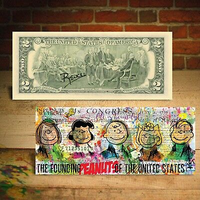 PEANUTS Snoopy FOUNDING FATHERS Genuine U.S. $2 Bill Pop Art - SIGNED by Rency
