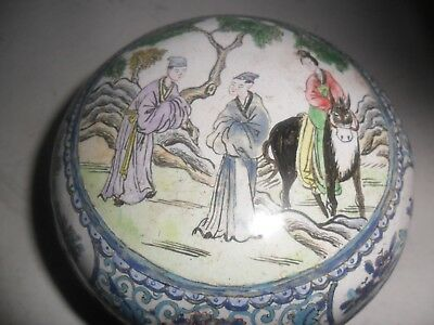 Antique Chinese Enamel Brass Small Bowl And Cover Kangxi Mark