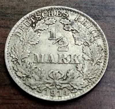 1914D German Empire Silver 1/2Mark Coin 180377
