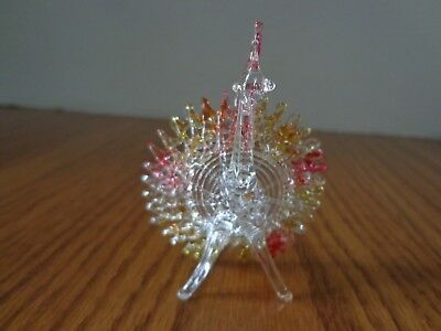 Vintage Miniature Hand Blown Glass Peacock Figurine