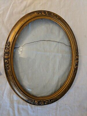 Antique Ornate Gold Gilt Wood Frame with Flowers Oval Ornate Convex Glass
