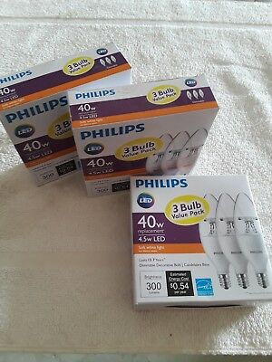 New Philips soft white LED Bulbs - 3 pack 40 watt candelabra bulbs