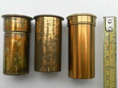 3 Antique Empty Brass Microscope Objective Lens Cans One Stamped Leitz Wetzlar