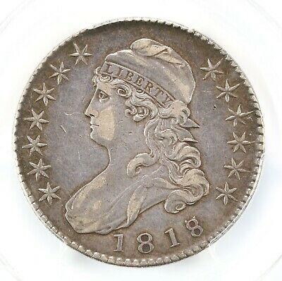 1818/17 Capped Bust 50C Overton 101a Large 8 PCGS Certified VF35 Early Overdate