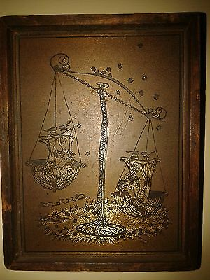 Ancient Judaica bas-relief from the brass framed in wood Weight