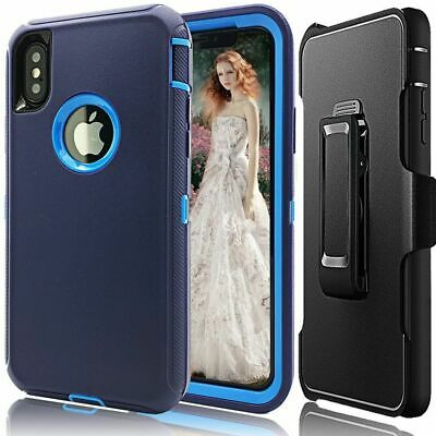Case Cover For iPhone X  iPhone XS w/(Belt Clip fits Defender case ) Blue