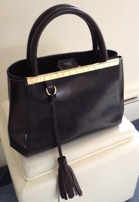 6654bf8af ALBERTA DI CANIO Made In Italy Gray Patent Leather Satchel Tote Bag  w/Goldtone