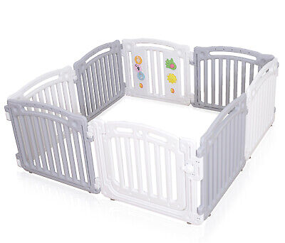 Baby Plastic Playpen Room Divider 3in1 Child Play Gate Large 8 Panels White Grey