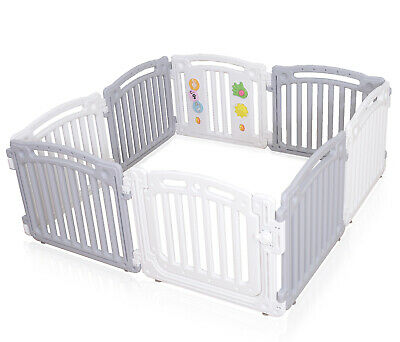 Baby Plastic Playpen Room Divider 3in1 Play Gate Large 8 Panels White/Grey PP02G