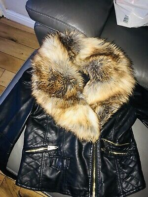 59a3b3cea20 River Island Black Leather Style Jacket With Fur Collar Size 12
