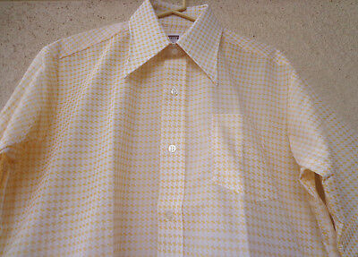 Vintage 70s Men's Pointy Collar SHIRT Houndstooth Disco Retro Hipster NEW LG
