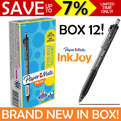 NEW IN BOX 12 BLACK Papermate Inkjoy 300 Retractable Ballpoint Pen Medium 1.0mm