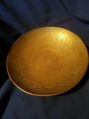 """VINTAGE Large 12"""" Brass Bowl with Double Dragons Chinese 1920s Hand Crafted"""