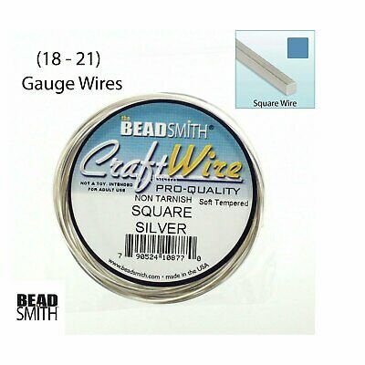 Beadsmith SQUARE Silver Plated Non-Tarnish 18 Gauge, 21 Gauge Square Craft Wire