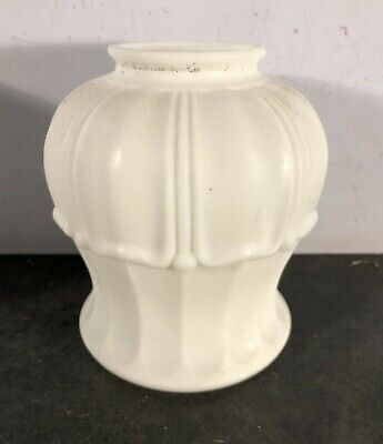 "Antique vtg satin opal 2 1/4"" fitter light fixture shade"