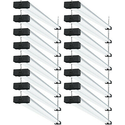 SUNCO 16 PACK 4ft 40W LED Industrial Utility Shop Light 5000K Daylight, Frosted