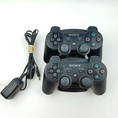 Set of 2 Sony PS3 Playstation 3 DualShock 3 Wireless Controller Black + Charger