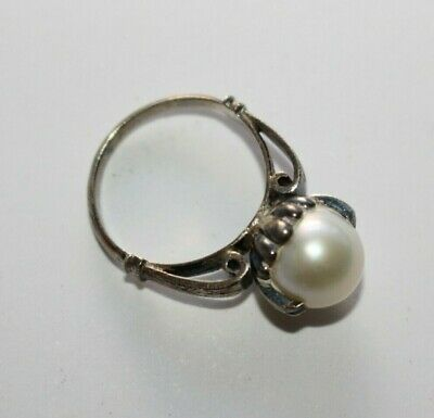 Stunning Antique Victorian Edwardian Natural Pearl Sterling Silver Ring c 1910