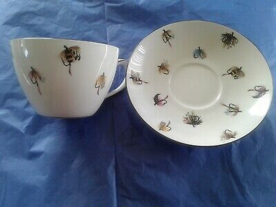 Crown Staffordshire Bone China Fly Fishing  OVERSIZE 16 OZ - Cup Saucer
