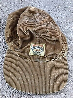 Vintage Ralph Lauren Polo Country Hat Corduroy Strapback Leather Expedition 1934