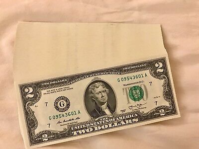 10X LUCKY NEW Uncirculated Two Dollar Bill Crisp $2 Sequential Note Lot 2013