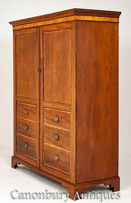 Georgian Gentlemans Wardrobe - Antique Mahogany Inlaid Closet