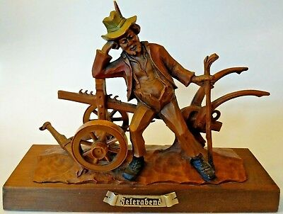Feirarbend German Austrian Man Plough Vtg Farmer Figure Desk Mantle Display 12""