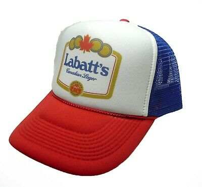 Vintage Labatt s Canadian lager beer trucker hat mesh hat red white blue new 3ac6dbb32a0