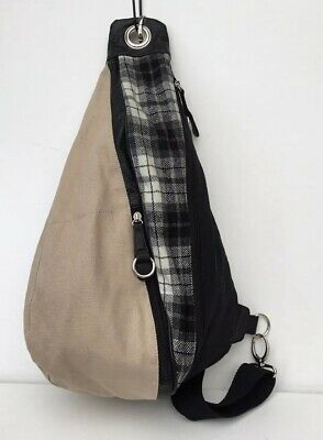 Bnwt Unisex Canvas Black, Grey, White & Beige Over The Body / Cross Body Bag