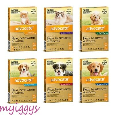 Advocate for Dogs  & Cats 0-4 kg, 4-10 kg, 10-25kg, Over 25kg 1 Tube SINGLE