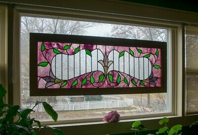 "•Victorian Extra Large Stained Glass Window Panel 19""x49.5"""