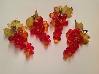 Vintage Lucite Grapes 4 Bunches Fruit Bowl Size Persimmon Orange Gold & Red