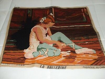 Lovely Vintage Needlepoint Of Ballerina/ 19 1/2 X 23 1/2 Inches