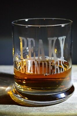 Hand Made Etched Whiskey glass/ Tumbler-Peaky Blinders T.V. series-a must have!!