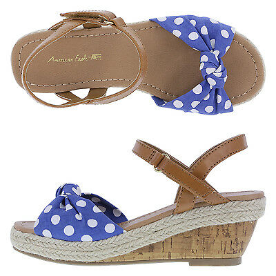 02f743b5bcb9 American Eagle Girls  Toddlers Delilah 2 Wedge Heels Sandals Polka Dot Size  11.5