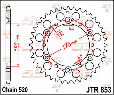 Jtr853.51 rear replacement sprocket 51 teeth 520 pitch natural steel - YAMAHA...
