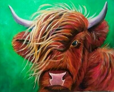 Yvette Andino Art highland hairy cow painting, calf, farm animal 20x16 unframed