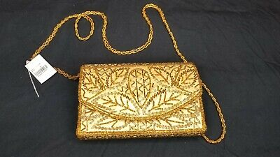 5614f13e51 NEW BIJOUX TERNER Gold Beaded Clutch Purse Evening Bag Beaded Handle ...