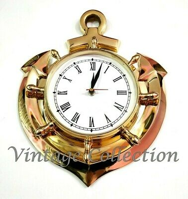 Nautical Brass Ship Anchor Roman Numeral Wall Clock Vintage Antique Decor Item