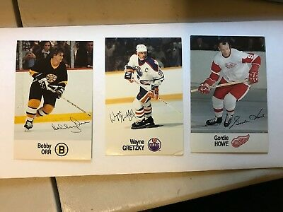 1988/89 Esso NHL All-Star Collection Lot of 3 cards Gretzky, Orr and Howe cards