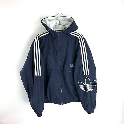 free shipping 0a77f fbf5c Vintage Adidas Trefoil Puffer Jacket Size Large Mens Navy 90s DMC Hooded  Coat