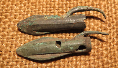 Scythian- Sarmatia Bronze 2 pcs.Old Original Ancient Barbed Arrowhea 7-4 BC #11