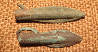 Scythian- Sarmatia Bronze 2 pcs.Old Original Ancient Barbed Arrowhea 7-4 BC #12