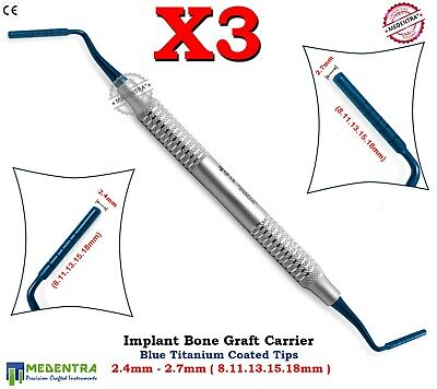 Medentra® Bone Grafting Instruments Graft-Packer Pluggers Titanium Implant 3PCS