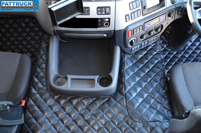 Eco Leather Floor Mats Set-Black Fit Daf Cf Euro-6- Till 67 Plate- Automatic