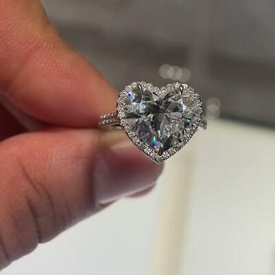 3.75CT Heart Cut Lab-Created 925 Sterling Silver Diamond Engagement Ring