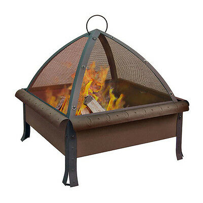 Antique Bronze Steel 27.6-in W x 29-in H Wood-Burning Fire Pit with Log Grate
